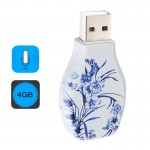 Flowers Blue and White Porcelain Pattern Portable Audio Voice Recorder USB Drive, 4GB, Support Music Playback