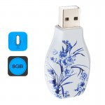 Flowers Blue and White Porcelain Pattern Portable Audio Voice Recorder USB Drive, 8GB, Support Music Playback