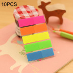 10 PCS Full Color Type Creative Fluorescence Classification Indexes Paste Sticks PET Bookmarks Sticky Note Stationeries