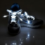 1 Pair LED Fluorescent Flat Shoelaces with Button, Length: about 113cm(White)