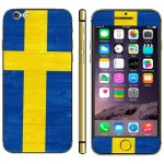 Swidish Flag Pattern Mobile Phone Decal Stickers for iPhone 6 Plus & 6S Plus
