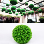 Artificial Green Eucalyptus Plant Ball Topiary Wedding Event Home Outdoor Decoration Hanging Ornament, Diameter: 15 inch