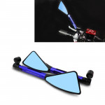 2 PCS Motorcycle Parts CNC Technology Aluminum Alloy Rearview Mirror Side Mirror (Blue)