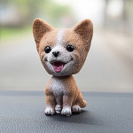 High-grade Shaking Head Dog Car Ornaments Resins Lovely Corgi Dog Cartoon Dog New Year Gifts with Double-sided Adhesive Tape