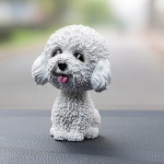 High-grade Shaking Head Dog Car Ornaments Resins Lovely White Teddy Cartoon Dog New Year Gifts with Double-sided Adhesive Tape