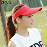 2 PCS Lightweight and Comfortable Visor Cap for Women in Outdoor Golf Tennis Running Jogging Adjustable Strap (Red)