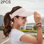 2 PCS Lightweight and Comfortable Visor Cap for Women in Outdoor Golf Tennis Running Jogging Adjustable Strap (Beige)