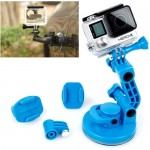 TMC Car Suction Cup Mount + Tripod Adapter + Handle Screw for GoPro Hero 4 / 3+ / 3 / 2 / 1(Blue)