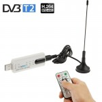USB 2.0 DVB-T2 Stick with Remote Control & FM Radio Function, Support MPEG-4 H.264 (AVC) & MPEG 2 Encoding(White)