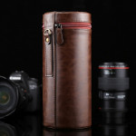 Extra Large Lens Case Zippered PU Leather Pouch Box for DSLR Camera Lens, Size: 24.5*10.5*10.5cm(Coffee)