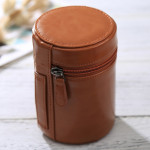 Medium Lens Case Zippered PU Leather Pouch Box for DSLR Camera Lens, Size: 13*9*9cm(Brown)