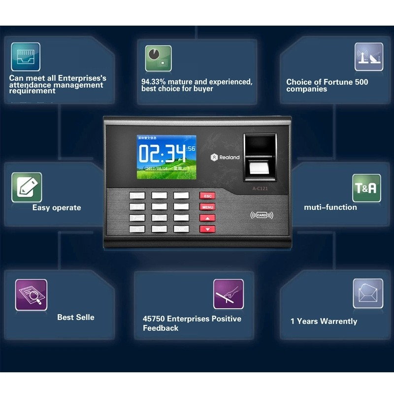 A-C121 2 8 inch Color TFT Screen Fingerprint & RFID Time Attendance, USB  Communication Office Time Attendance Clock
