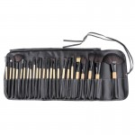 24 PCS Goat Hair Wooden Handle Cosmetic Brush Set with Black Leather Bag