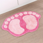 1390 Foot-shaped Non Slip Shaggy Soft Water Absorption Bedroom Bathroom Carpet Mat (Pink)