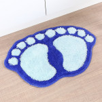 1390 Foot-shaped Non Slip Shaggy Soft Water Absorption Bedroom Bathroom Carpet Mat (Blue)