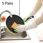 5 Pairs Sale Shark Housework Cleaning PVC Latex Gloves Waterproof Thicken Laundry Washing Gloves (Green)