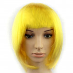 Colorful Party Cosplay Headwear Straight Short PET Wigs For Female(Dark Gold)