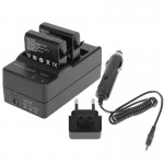 GoPro AHDBT-401 Digital Camera Double Battery Charger + Car Charger + Adapter for GoPro HERO4