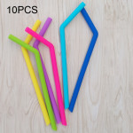 10 PCS Food Grade Silicone Straws Cartoon Colorful Drink Tools, Crude Bend Pipe, Length: 25cm, Outer Diameter: 11mm, Inner Diame