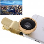 HE-22 Universal Super Wide 0.4X Lens with Clip, Suit for iPhone 6 & 6 Plus, Samsung, HTC, Cameras(Gold)
