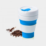 350ml Outdoor Pocket-Sized Coffee Tea Collapsible Travel Mug Silicone Cup with Lid (Blue)
