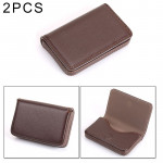 2 PCS Premium PU Leather Business Card Case with Magnetic Closure , Size: 10*6.5*1.7cm(Coffee)
