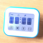 Kitchen Timer Digital Alarm Clock Large LCD Touch Screen Come with Night Light for Cooking Baking(White)