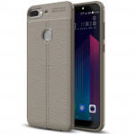 For HTC Desire 12+ Litchi Texture Soft TPU Protective Back Cover Case(Grey)