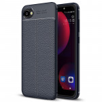 For HTC Desire 12 Litchi Texture Soft TPU Protective Back Cover Case (Navy Blue)