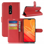 For OnePlus 6 Litchi Texture Horizontal Flip Leather Case with Holder & Card Slots & Wallet(Red)