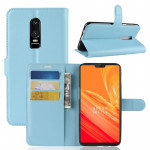 For OnePlus 6 Litchi Texture Horizontal Flip Leather Case with Holder & Card Slots & Wallet(Blue)