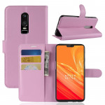 For OnePlus 6 Litchi Texture Horizontal Flip Leather Case with Holder & Card Slots & Wallet(Pink)