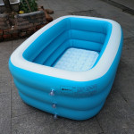 Household Children 1.5m Three Layers Blue and White Rectangular Printing Inflatable Swimming Pool, Size: 150*110*50cm