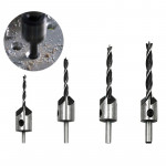 4 PCS/Set Woodworking Countersink Chamfer Three-Pointed High-Speed Steel Drill Bits Set, 3-6mm