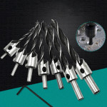 7 PCS/Set Woodworking Countersink Chamfer Three-Pointed High-Speed Steel Drill Bits Set, 3-10mm