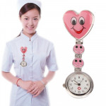 Smile Style Portable Alloy Nurse Round Quartz Wristwatch Watch with Pin