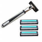 Set Of Washable Manual Razor With Stainless Steel-Made Double Layer Classic Blade And Rubber Handle(black+silver)