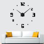 Bedroom Home Decor Frameless Large Number 3D Mirror DIY Wall Sticker Mute Clock, Size: 100*100cm(Black)