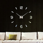 Bedroom Home Decoration Watch Frameless 3D Mirror Large DIY Wall Sticker Mute Clock, Size: 100*100cm(Silver)