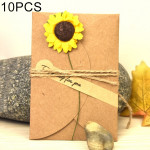 10 PCS Festival Creative DIY Retro Kraft Paper Handmade Small Dry Flower Greeting Card Birthday Card