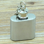 28mL(1oz)Cute Mini Portable Wine Jug Handy Stainless Steel Hip Flask with a Key Chain(Silver)
