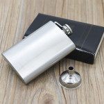 112mL (4oz)Handy Narrow-version Wine Jug Portable Stainless Steel Hip Flask(with Small Funnel)(Silver)