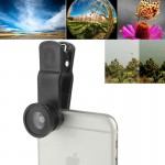 F-018 5 in 1 Universal 180 Degree Fisheye Lens + Marco Lens + 0.65X Wide Lens + CPL Lens + 2X Telephoto Lens with Clip, Suit for