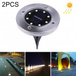 2 PCS 8 LEDs IP44 Waterproof Solar Powered Buried Light, SMD 5050 Warm White Light Under Ground Lamp Outdoor Path Way Garden Dec