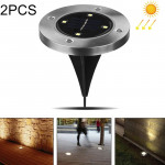 2 PCS 4 LEDs IP44 Waterproof Solar Powered Buried Light, SMD 5050 Warm White Light Under Ground Lamp Outdoor Path Way Garden Dec
