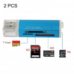 2 PCS Multi All in 1 USB 2.0 Micro SD SDHC TF M2 MMC MS PRO DUO Memory Card Reader(Blue)