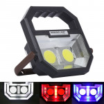 White + Red & Blue Warning Light COB LED Camping Tent Light, Multi-function Outdoor Portable Emergency Flashlight Lamp with Hand