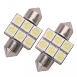 31mm Super White 6 LED Car Bulb Reading Light (Pair)