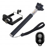 Extendable Handheld Selfie Monopod with Bluetooth Remote Shutter + Clip Holder Set for GoPro HERO4 /3+ /3 /2 /1 / SJ4000 / Mobil