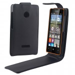 Vertical Flip Magnetic Button Leather Case for Microsoft Lumia 435